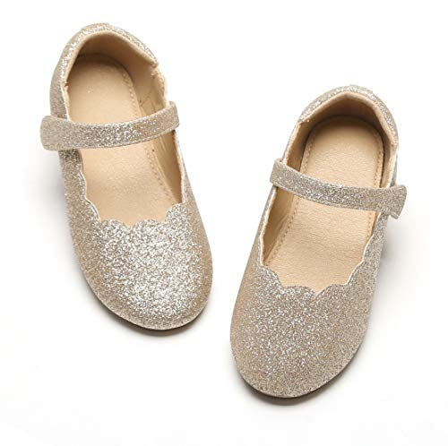 THEE BRON Glitter Shinny Ballet Shoes Flouncing Flats for Baby Girls/Toddlers/Kids