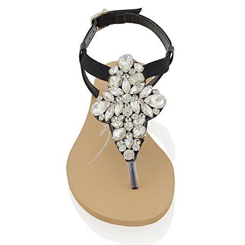 Essex Glam Sandalias planas con tira en T y tira al dedo, con diamantes de imitación brillantes para vacaciones Negro