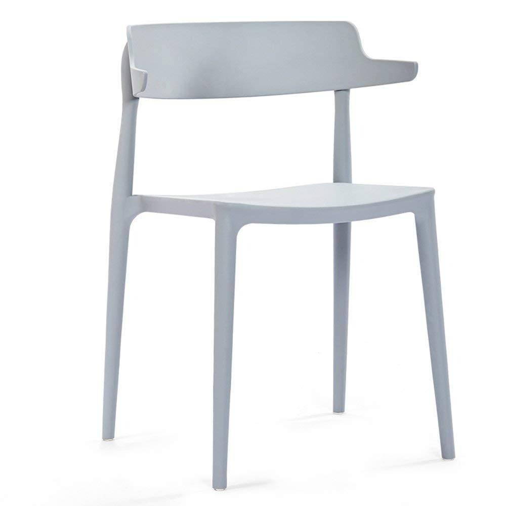 Grey BRNEBN Chair-European Modern Minimalist Casual Backrest Dining Chair Plastic Chair Home Reception Fashion Stool Home Convenient (color   Black)