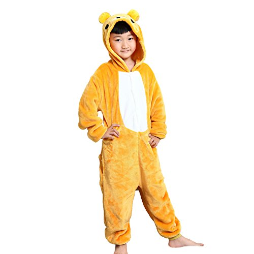 WSLCN Childrens Boys Girls Animal Onesie Unisex Cosplay Flannels Hooded Kids Sleepsuit Party Halloween Sleepwear Nightwear Bear Child Height 35-40 inch -