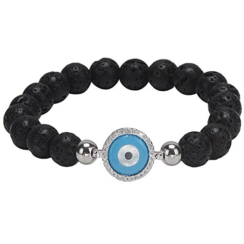 Elastic Evil Eye (Essential Oil Diffuser Bracelet for Women 8mm Lava Rock Stone Elastic Beaded Healing Energy Chakra Religious Mala Jewelry with Blue Turkey Evil Eye Charm -Jeka)