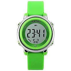 PANEGY Kids Colorful LED Light Digital Watch - Green