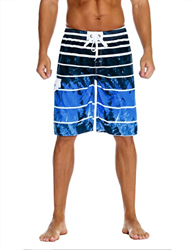 (Nonwe Men's Beachwear Quick Dry Holiday Drawstring Striped Beach Shorts Sky Blue 42)