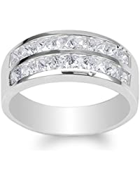 Mens 925 Sterling Silver Square CZ Double Channel Band Ring Size 7-12