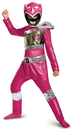 Disguise Pink Ranger Dino Charge Sequin Deluxe Costume, Small (4-6x) (Pink Power Ranger Costume Kids)