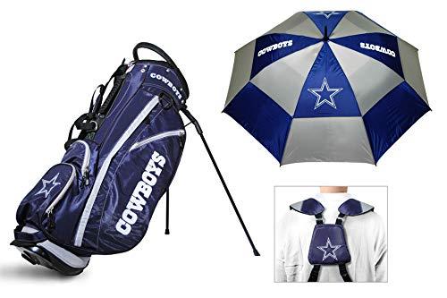 (Team Golf Dallas Cowboys NLF Bag & Umbrella Bundle | Includes Fairway Stand Bag, 62
