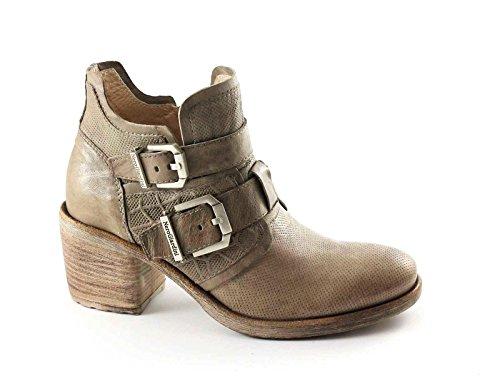 BLACK JARDINES 17151 botas de mujer zapatos de color beige tobillo zip hebillas Beige