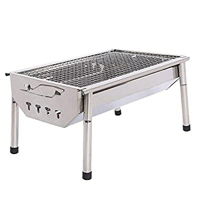 ISUMER Portable Thickened Stainless Steel Outdoor Charcoal BBQ Grill, Tabletop Cooking Charcoal Grill from ISUMER