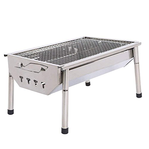 ISUMER Portable Thickened Stainless Steel Outdoor Charcoal BBQ Grill, Tabletop Cooking Charcoal (Portable Stainless Charcoal Grill)