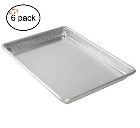 Tiger Chef Quarter Size 10 x 13 inch Aluminum Sheet Pan - Commercial Bakery Equipment Cake Pans - NSF Approved 6 Pack (6, 10'' x 13'' Quarter Size) by Tiger Chef