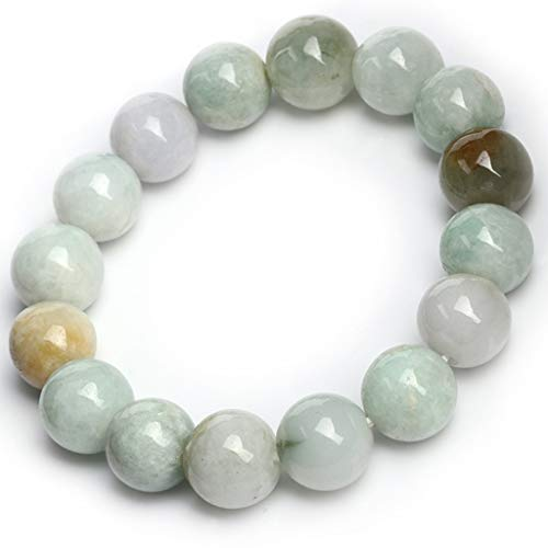KALRTO Lucky Jade Bracelet, Natural 12.5mm Round Jade Beads, Ice Jade Handmade Engraved Bangle Ornaments, Gifts
