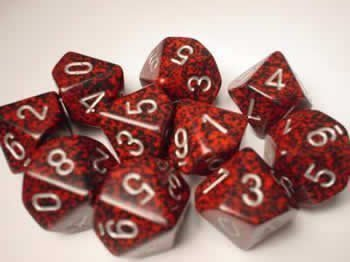 Chessex Dice Sets: Silver Volcano Speckled - Ten Sided Die d