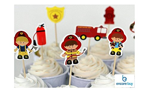 Encore Buy Fireman Cupcake Topper Set 24 PC, Fire Fighters Birthday Party Decorations, For Children or Adults -