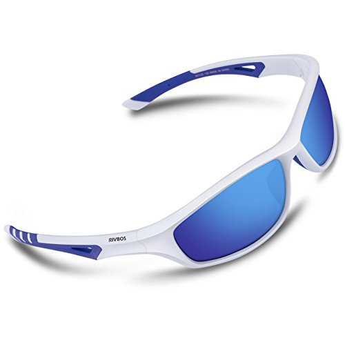 RIVBOS Polarized Sports Sunglasses Driving Comfortable Sun Glasses for Men Women Tr 90 Flexible Frame for Cycling Baseball Running 842 (White&Blue, Blue Iced - Ocean Racing Sunglasses