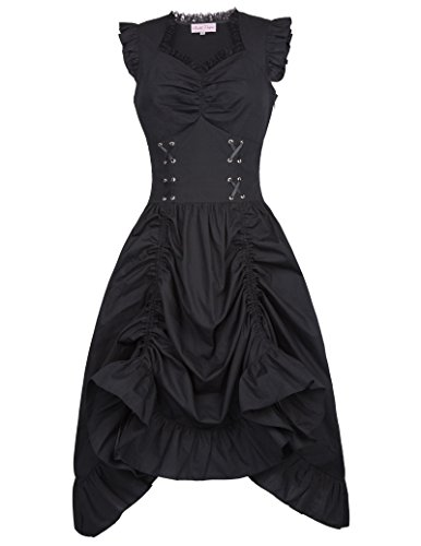 Hot Belle Poque Vintage Black Steampunk Gothic Victorian Ruffled Dress Sleeveless BP000364