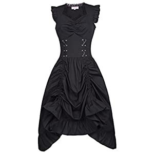Belle Poque Black Steampunk Gothic Victorian Ruffled Dress Sleeveless BP000364