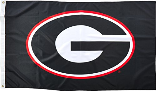 (NCAA Georgia Bulldogs 3-by-5 Foot Flag G Logo with Black Background with Grommets)