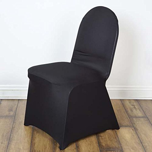 Efavormart 50pcs Black Stretchy Spandex Fitted Banquet Chair Cover Dinning Event Slipcover for Wedding Party Banquet Catering ()