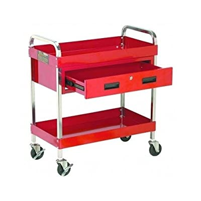 Large Tool Box Rolling Service Cart. Confidently Use Our 2 Shelves and Locking Drawer Tray Guaranteed for Your Automotive Repair or Garage Handyman Tools Storage Needs. Roll the Home Utility Chest to Site with Boat, Motorcycle, or Auto Motor Parts.