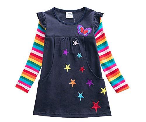 Leeharu Jurk meisje borduurwerk vlinder ster lange mouwen jurk lente herfst met twee zakken regenboog