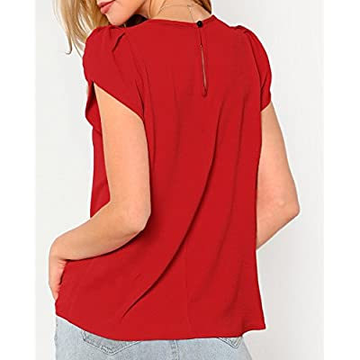 Milumia Women's Casual Round Neck Basic Pleated Top Cap Sleeve Curved Keyhole Back Blouse at Women's Clothing store