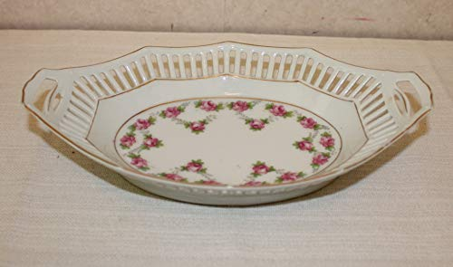 (Schumann Bavaria Oval Pierced Serving Bowl with Pink Flowers)
