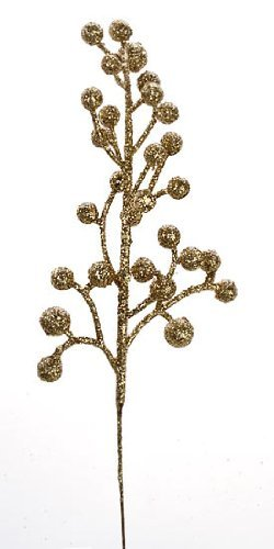 Package of 24 Glittery Gold Artificial Berry Picks for Holiday Decorations or Floral Arranging unknown