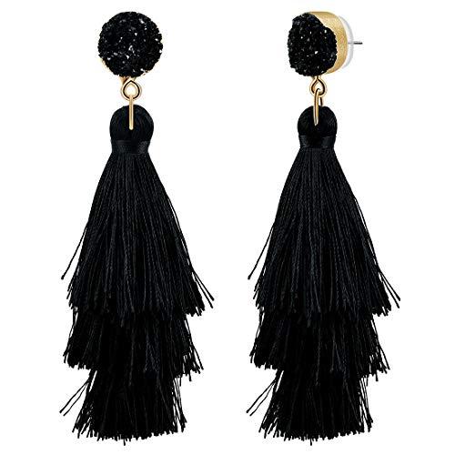 CAT EYE JEWELS Colorful Layered Tassel Earrings Bohemian Dangle Drop Druzy Stud Earrings Black