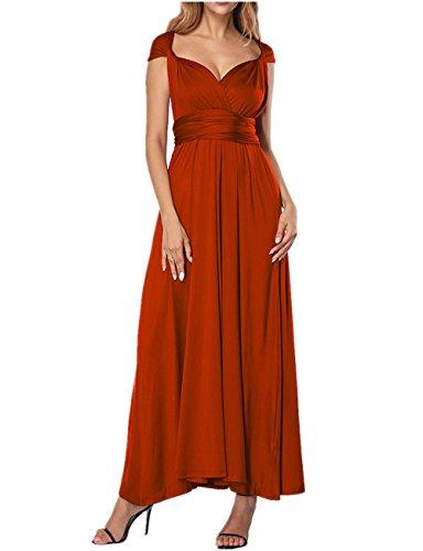 SELUXU Vestido de Las Mujeres de Alta Cintura Convertible Multi-Forma Abrigo Dama de Honor Formal Largo Vestidos Maxi Transformador/Infinito Vestido Rojo