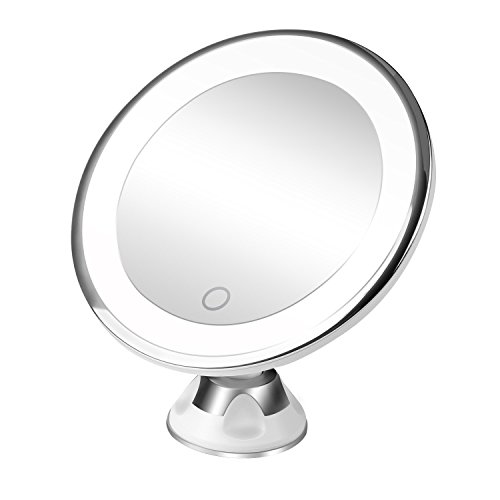 BESTOPE Makeup Mirror 10X Magnifying Lighted Led Vanity Mirror with 360°Swivel Rotation Locking Suction Cup,Portable Bathroom Mirror,Dimmable Light,Battery and Usb Operated (Magnified Vanity Mirror)