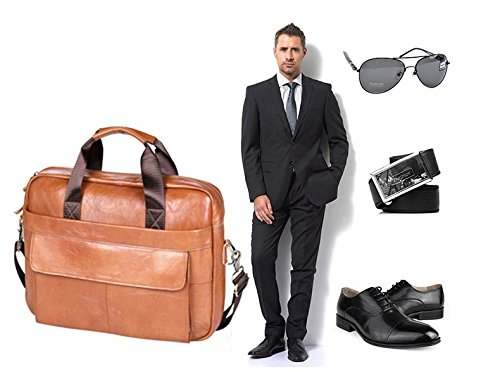 VIDNEG Handmade Briefcase Top Grain Leather Laptop Bag Messenger Shoulder Bag for Business Office 15 inch Macbook (CP-Light Brown) by VIDENG (Image #6)