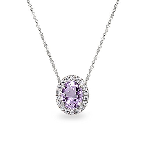 Sterling Silver Amethyst Oval Halo Slide Pendant Necklace with CZ Accents