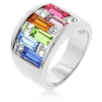 Silver Tone Multi-Color Channel Setting Alternated Stone CZ Ring