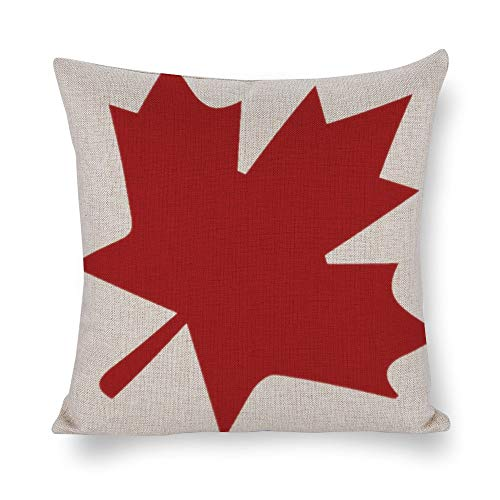 Welkoom Sofa Pillow Cases Square Pillow Covers 18 X 18 Leaf Canada Toronto Cotton Linen Decorative Cushion Covers ()