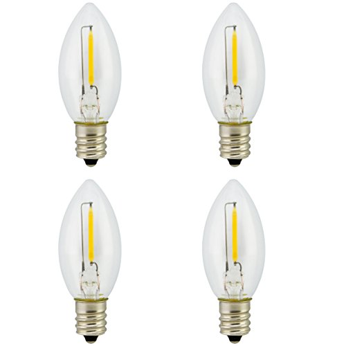 Promotion! Landlite Night Light Bulb LED C7 1W, Bullet/Candle Shape LED Bulb 120V 1W E12 Candelabra Screw Base, Accent Wall...