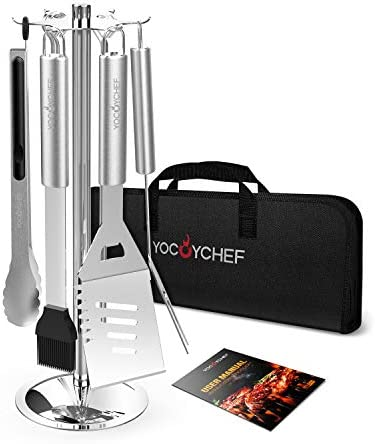 YOCOYCHEF Grill Tools Set – Carousel Stainless Steel BBQ Grilling Accessories with Stand – 13-Piece Heavy Duty Barbecue Tool Utensils in Gift Case for Men, Dad, Women