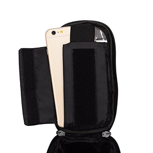 Schwarz Fahrrad Lenker Oberrohr Tasche Pack Beutel für Motorola Moto M/Moto Z Play/X Force/X Style/LG Stylus 2/Honor 74G UK/wileyfox Spark X/BLU Vivo 5R