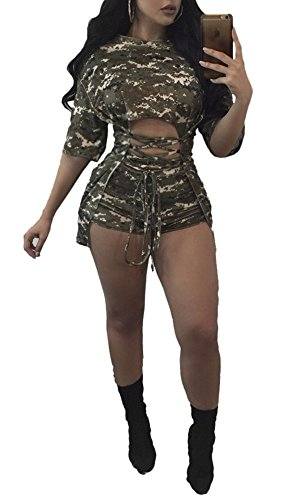 [Remelon Womens Camo Print Half Sleeve Hollow Lace Up 2 Piece Romper Outfits Jumpsuit Crop Top Shorts Set Army Green] (Army Outfits For Women)
