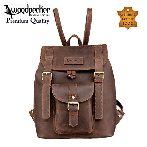 Woodpecker Top Quality Full Grain Real Cow Leather Men Women Backpack – Latest Design Casual and Formal Unisex Backpack