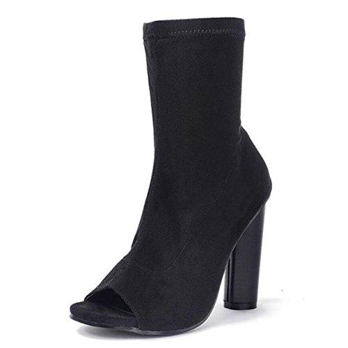 Black toe cuero mujeres de arranque tacones Hollow Sandalias de de altos de las elástico GAOLIXIA negro marrón peep tela zqEwU1SW