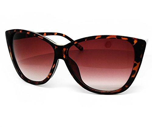Style Wrap Around Sunglasses (O2 Eyewear 54099 Premium Oversize XL Wraparound Tint Cats eye Fashion Sunglasses (CATS EYE, BROWN))