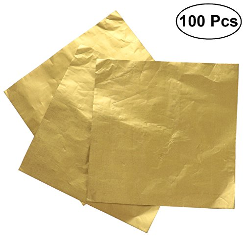 BESTONZON 100pcs Metallic Foil Paper Sheets Gift Package Wrapping Paper for Packaging Chocolate Candy Bath Bombs