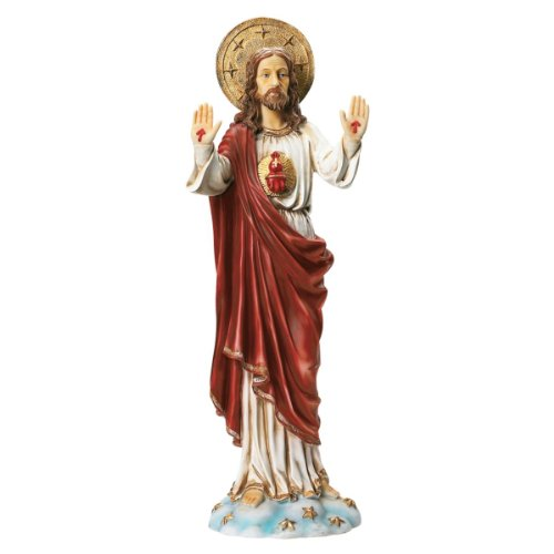 Design Toscano Sacred Heart of Jesus Italian Style Religious Garden Statue, 23 Inch, Polyresin, Full Color