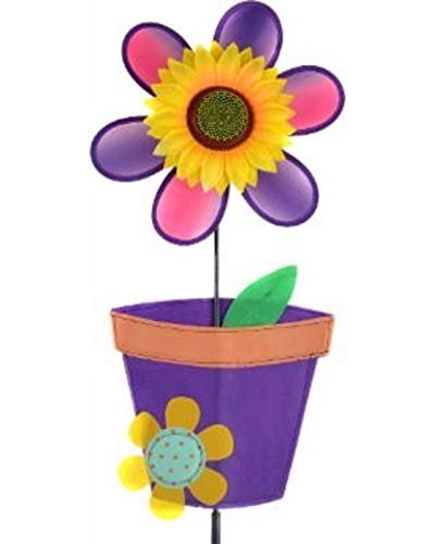 """Midwest Design Imports, Inc. Sunflower with Purple and Pink Flower and Pot Garden Spinner Flag - 42"""" from Midwest Design Imports, Inc."""