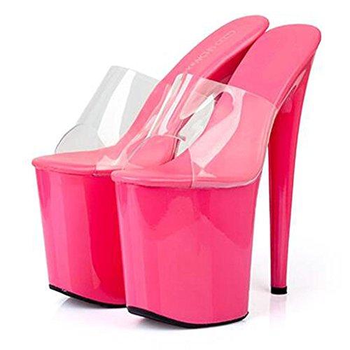 De Sandales Air Red Rose Talons Lieu Haute Mode forme 20cm Sangle Transparente Femmes Chaussures En avec Travail Plate Imperméable À Hauts L'eau Plein aq6Agv