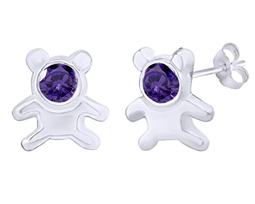 14k Teddy Bear Ring (Mothers Gift Simulated Amethyst Cute Teddy Bear Stud Earrings 14K White Gold Over Sterling Silver)