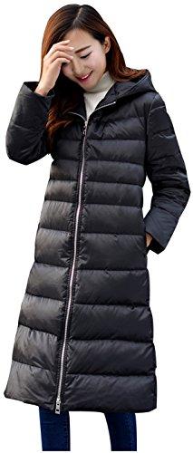 Ilishop Women's Thickened Winter Coat Long Down Jacket Black L-US8-10