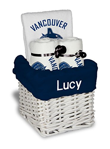 Designs by Chad and Jake Baby Personalized Name Vancouver Canucks Small Gift Basket One Size White