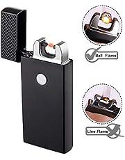 TECCPO Accendino USB, Accendino Elettrico Senza Fiamma, Batteria Interna da 280 mAh, Utilizza più di 9000 Volte, Carica Veloce, Antivento Senza Fiamma (Cavo USB e Confezione Regalo Inclusi) -TDEL01P