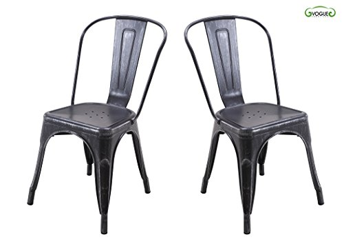 Vogue Furniture Direct Metals 18'' metal chair in Antique Matt black&silver, fully assembled (Set of 2) VF1671011 (Paris Dining Stool)
